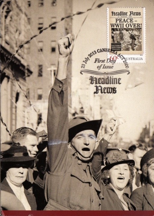 Containing a replica of the Sydney Morning Herald (16 August 1945) announcing the end of WWII