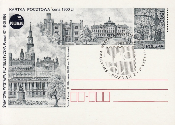 POSTAL STATIONERY - 1500 złoty / 1993 / commemorative cancellation: POZNAN 2 - 12.05.1993.