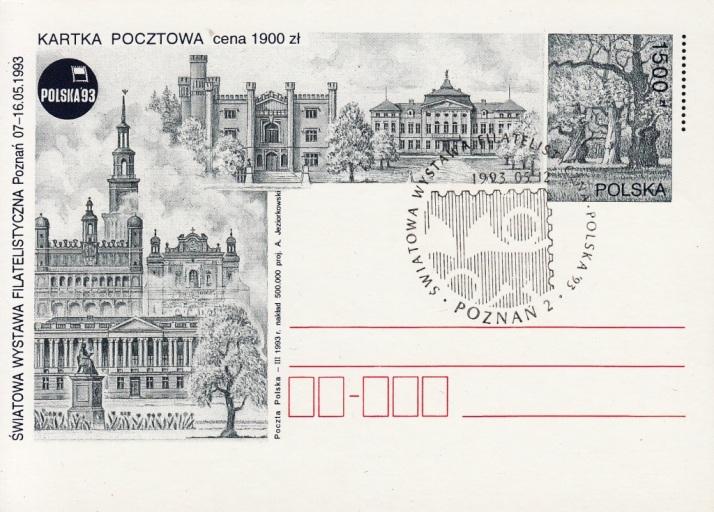 POSTAL STATIONERY - 1500 złoty / 1993 / commemorative cancellation: POZNAN 2 - 12.05.1993.