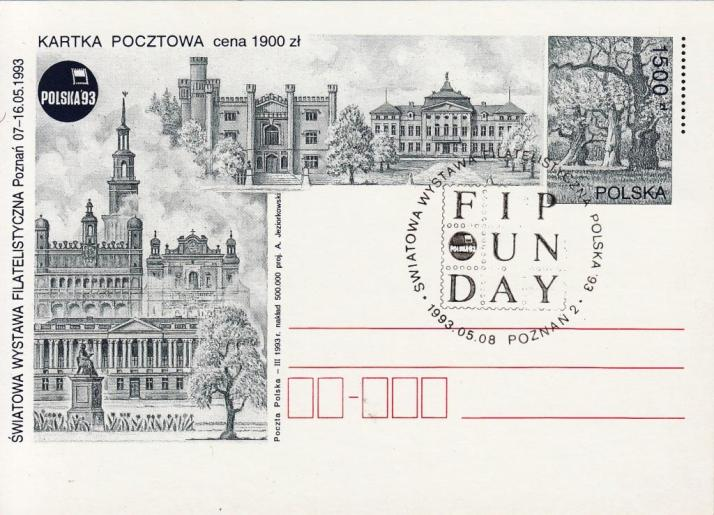 POSTAL STATIONERY / 1500 złoty / 1993 / commemorative cancellation: POZNAN 2 - 08.05.1993.