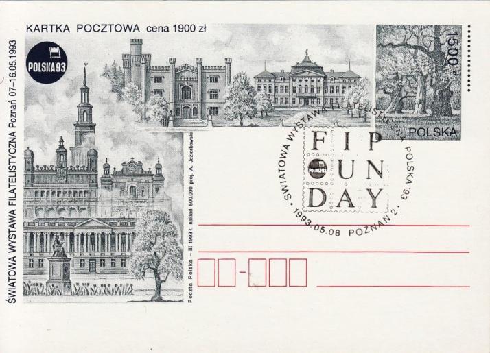 POSTAL STATIONERY / 1500 złoty / 1993 / commemorative cancellation: POZNAN 2 - 08.05.1993.