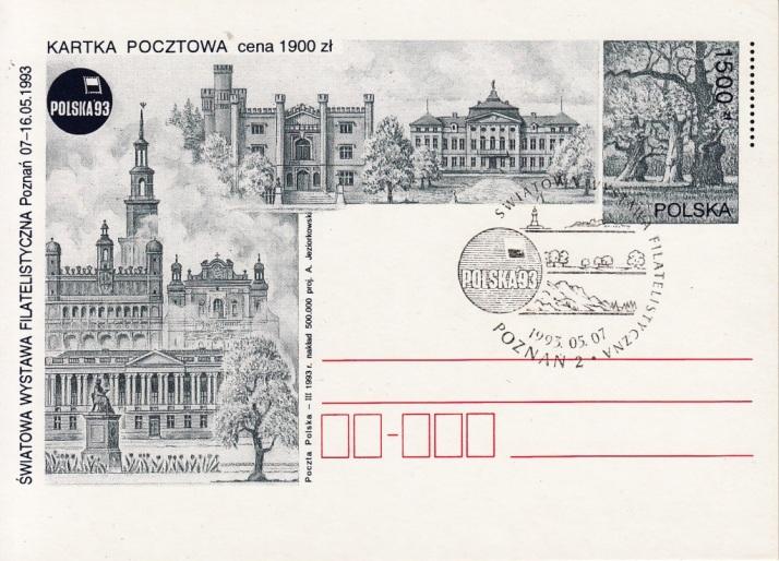 POSTAL STATIONERY / 1500 złoty / 1993 / commemorative cancellation: POZNAN 2 - 07.05.1993.