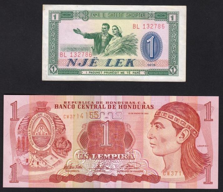 Albania - 1 lek 1976 Honduras - 1 lempira 2003